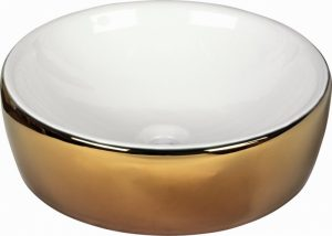 "186924 LAVABO WHITE AND GOLD 43.5x43.5x13.5 cm./17.1""x17.1""x5.3"" E700"